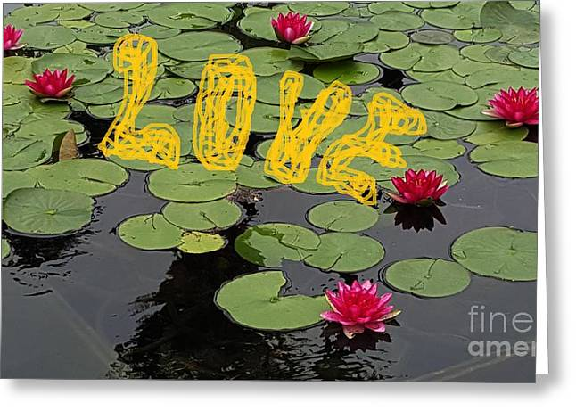 Bloosom Greeting Cards - Water lily love Greeting Card by Jasna Gopic