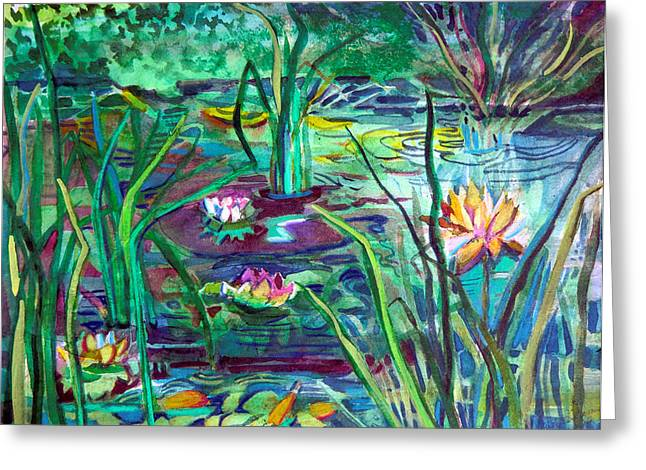 Franklin Greeting Cards - Water Lily Pond Greeting Card by Mindy Newman