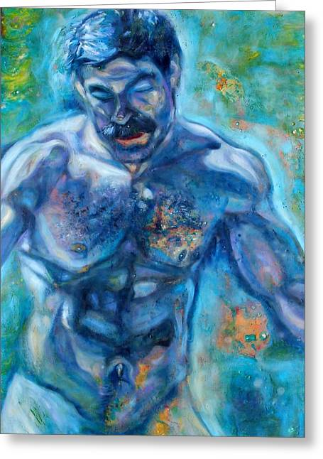 Mustache Glass Art Greeting Cards - Water Man Greeting Card by Greg Hester