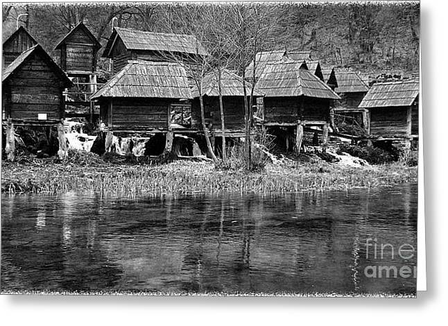 Old Mill Scenes Digital Greeting Cards - Water mills on the river PLIVA Greeting Card by Zoran Kepic