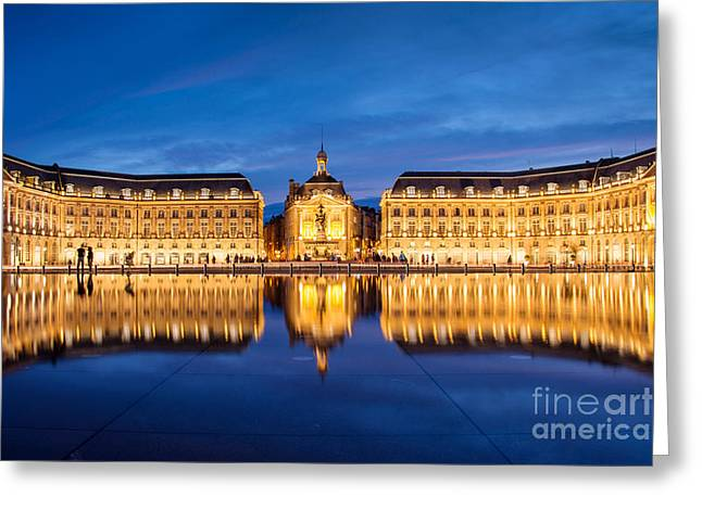 Town Square Greeting Cards - Water Mirror Greeting Card by Delphimages Photo Creations