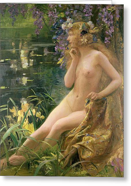 Reflection On Pond Greeting Cards - Water Nymph Greeting Card by Gaston Bussiere