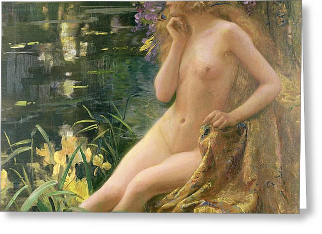 Water Nymph Greeting Card by Gaston Bussiere