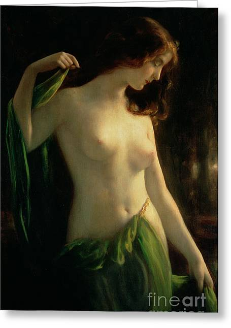 Recently Sold -  - Female Body Greeting Cards - Water Nymph Greeting Card by Otto Theodor Gustav Lingner