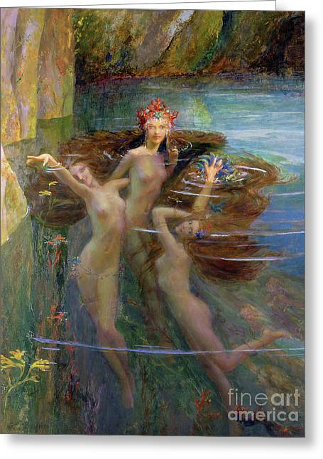 Water Nymphs Greeting Card by Gaston Bussiere