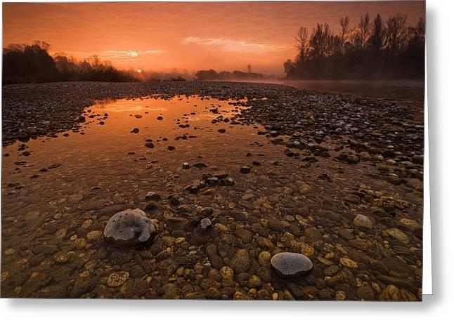 Orange Sky Greeting Cards - Water on Mars Greeting Card by Davorin Mance