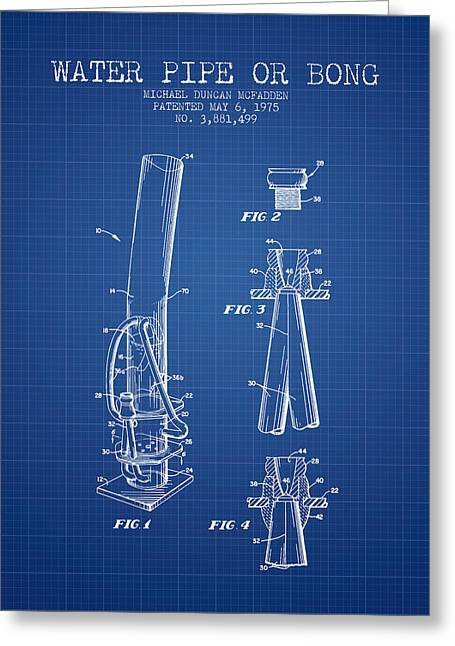 Dope Greeting Cards - Water Pipe or Bong Patent 1975 - Blueprint Greeting Card by Aged Pixel