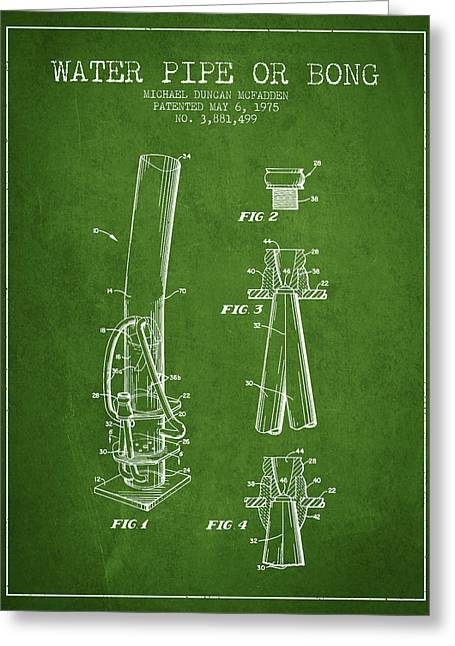 Dope Greeting Cards - Water Pipe or Bong Patent 1975 - Green Greeting Card by Aged Pixel