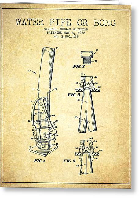 Dope Greeting Cards - Water Pipe or Bong Patent 1975 - Vintage Greeting Card by Aged Pixel