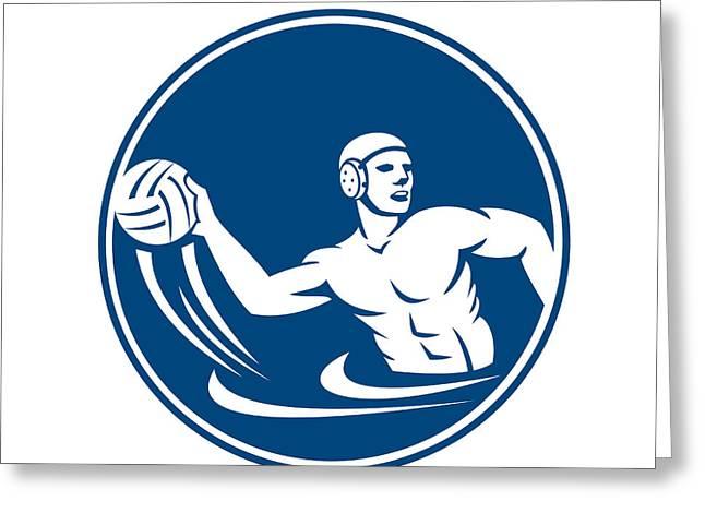 Polo Player Greeting Cards - Water Polo Player Throw Ball Circle Icon Greeting Card by Aloysius Patrimonio