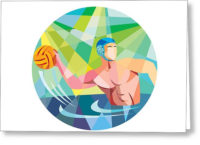 Throwing Digital Greeting Cards - Water Polo Player Throw Ball Circle Low Polygon Greeting Card by Aloysius Patrimonio
