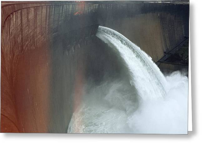 Zambezi River Greeting Cards - Water Pours Over The Kariba Dam Greeting Card by James L. Stanfield