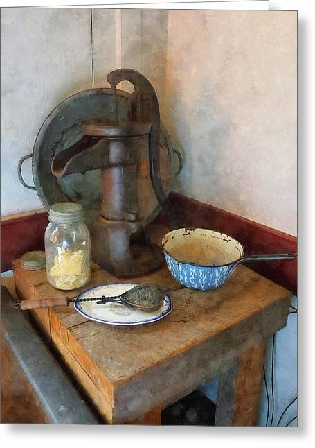 Susan Savad Greeting Cards - Water Pump in Kitchen Greeting Card by Susan Savad