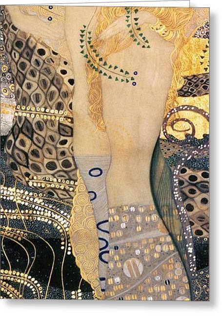 Sleeping Mermaid Greeting Cards - Water Serpents I Greeting Card by Gustav klimt