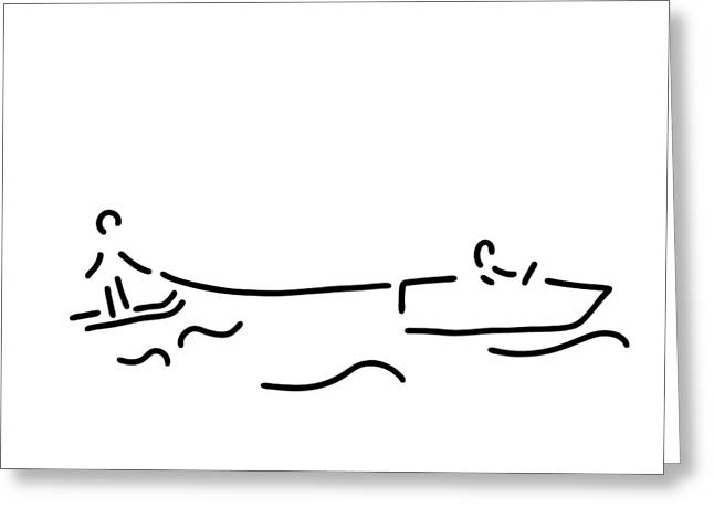 Surf Silhouette Drawings Greeting Cards - Water-ski Boat Waterski Greeting Card by Lineamentum