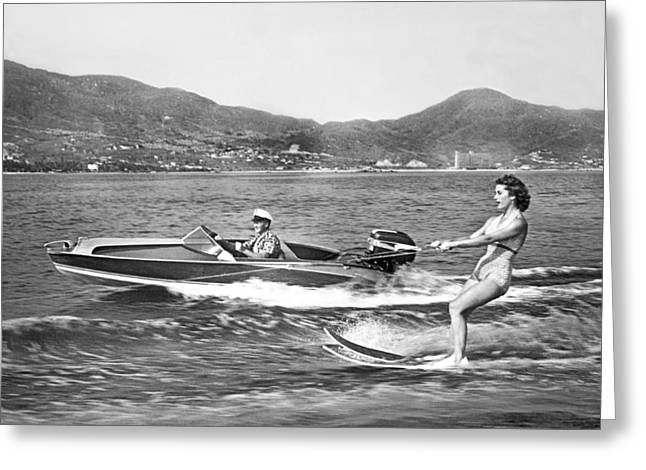 Acapulco Greeting Cards - Water Skiing In Acapulco Greeting Card by Underwood Archives