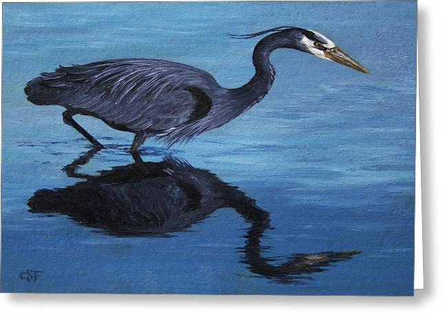 Water Stalker - Blue Heron Greeting Card by Crista Forest
