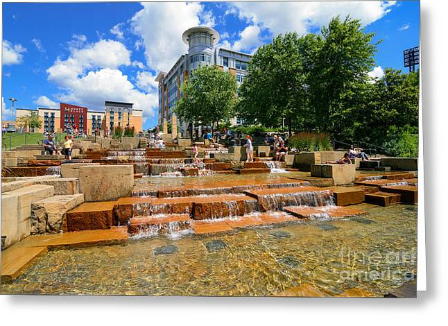 Water Steps North Shore Pittsburgh Pennsylvania Greeting Card by Amy Cicconi