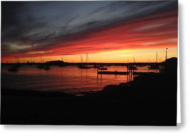Ocean. Reflection Greeting Cards - Water Sunset Greeting Card by Maddie J