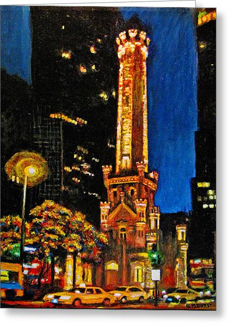 Water Tower At Night Greeting Card by Michael Durst