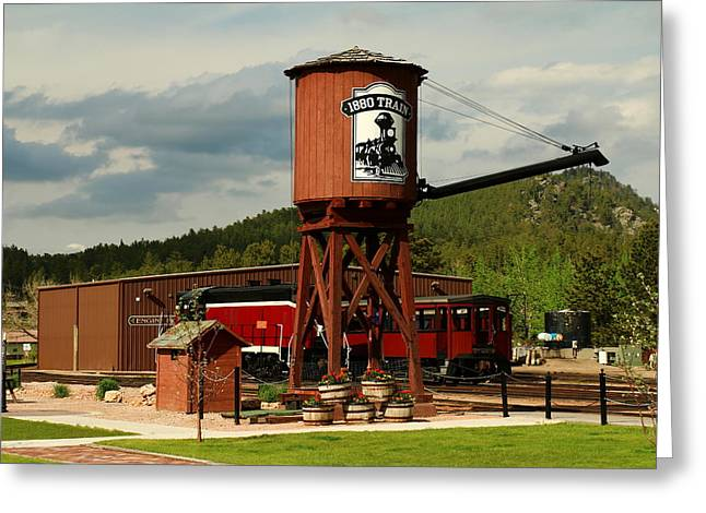 Usa Photographs Greeting Cards - Water Tower Of The Black Hills Central Railroad Greeting Card by Christiane Schulze Art And Photography