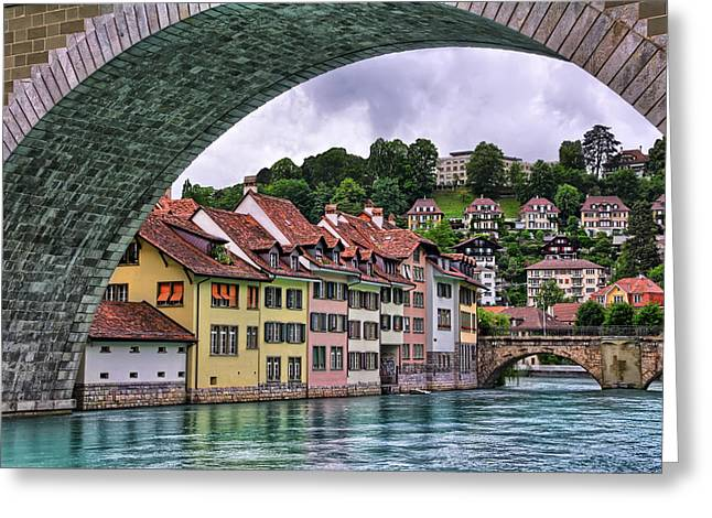 Swiss Photographs Greeting Cards - Water Under The Bridge in Bern Switzerland Greeting Card by Carol Japp