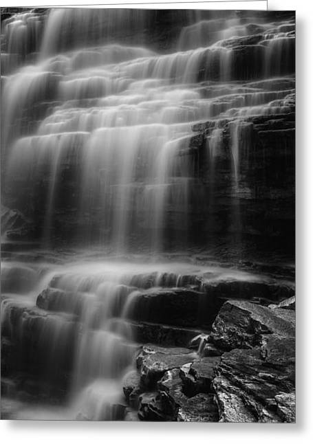 Water Veil Black And White Greeting Card by Bill Wakeley
