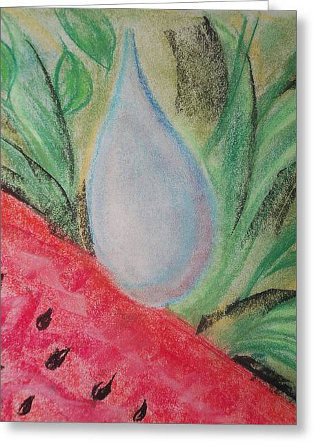 Rain Drop Pastels Greeting Cards - Water Watermelon Greeting Card by Aldonia Bailey