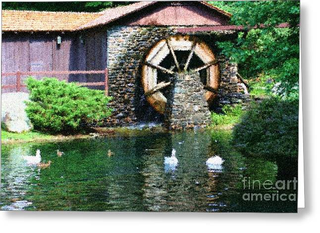 Seurat Mixed Media Greeting Cards - Water Wheel Duck Pond Greeting Card by Smilin Eyes  Treasures