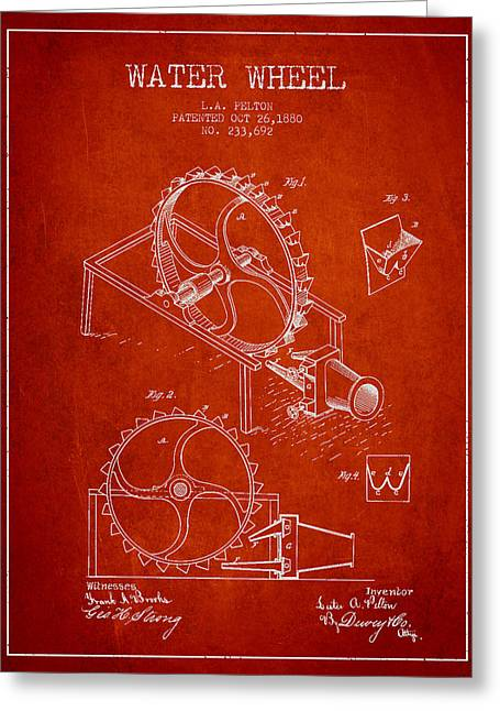 Water Wheel Patent From 1880 - Red Greeting Card by Aged Pixel