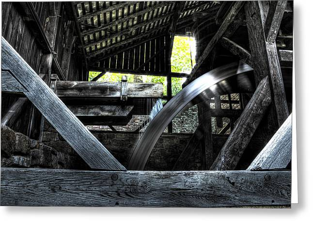 Abandoned Mill Greeting Cards - Water Wheel Greeting Card by Scott  Wyatt