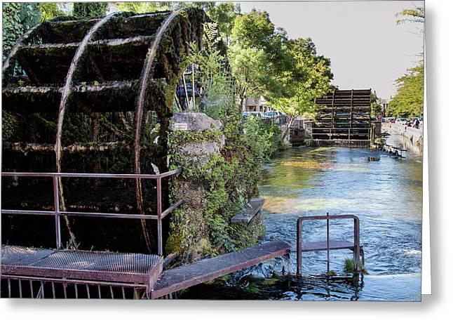 Water Wheels Greeting Card by Claudio Maioli