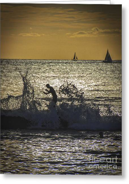 Sailboats In Water Greeting Cards - Waterboy Greeting Card by Mitch Shindelbower