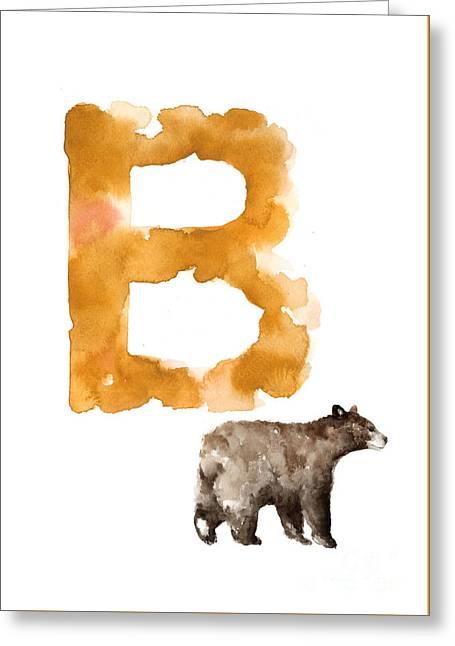 Watercolor Alphabet Bear Poster Greeting Card by Joanna Szmerdt