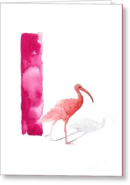 Watercolor Alphabet Pink Ibis Poster Greeting Card by Joanna Szmerdt
