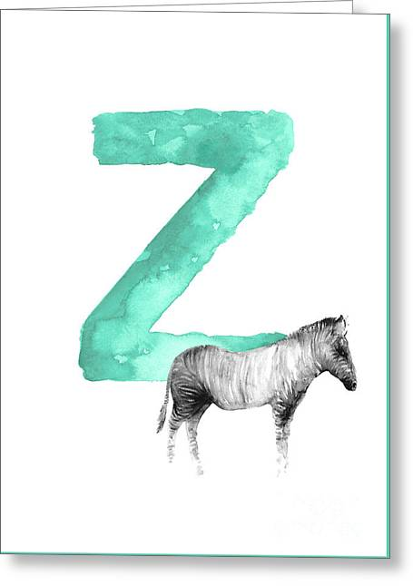Zebra Kids Painting, Watercolor Alphabet Z Letter, Green Childrens Initials A-z Alphabet  Greeting Card by Joanna Szmerdt