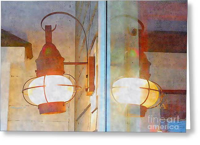 Sienna Greeting Cards - Watercolor and Ink Lantern Reflection Greeting Card by Shelly Weingart