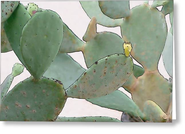 Western Culture Greeting Cards - Watercolor Beaver Tail Catus Greeting Card by Linda Phelps