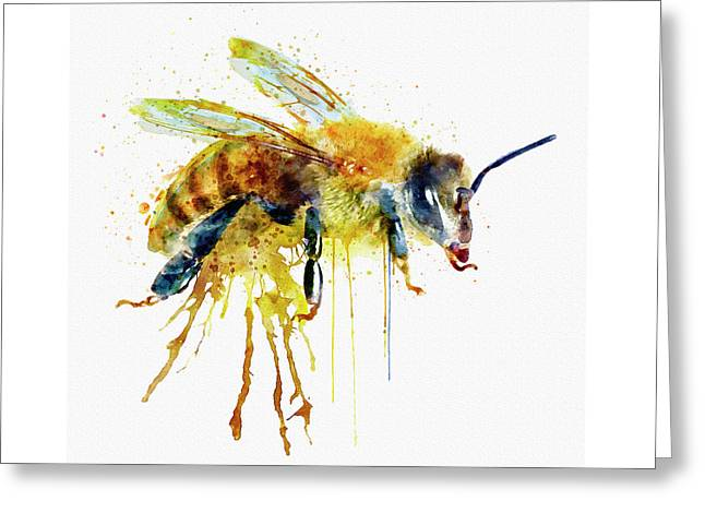Watercolor Bee Greeting Card by Marian Voicu