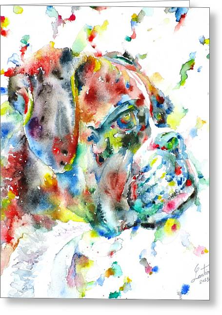 Boxer Greeting Cards - Watercolor Boxer Greeting Card by Fabrizio Cassetta