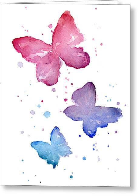 Watercolor Butterflies Greeting Card by Olga Shvartsur