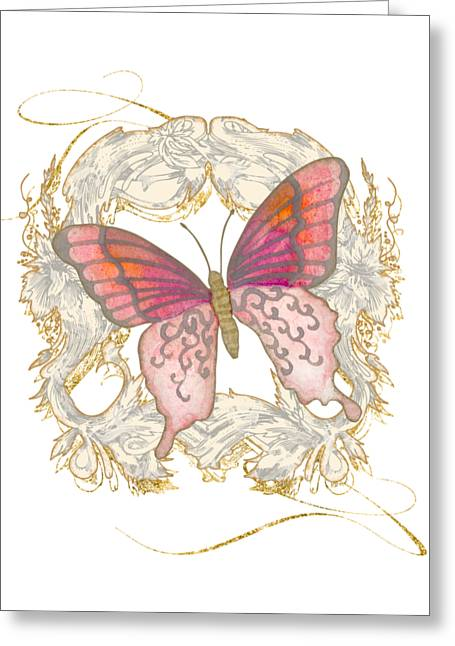 Watercolor Butterfly With Vintage Swirl Scroll Flourishes Greeting Card by Audrey Jeanne Roberts