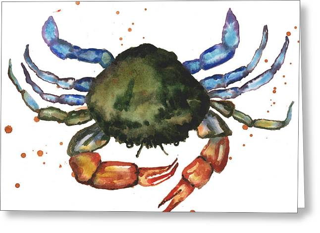 Sea Creature Greeting Cards - Watercolor Crab Painting Greeting Card by Alison Fennell