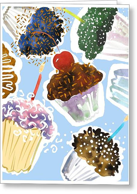 Occasion Greeting Cards - Watercolor Cupcakes With Sprinkles Greeting Card by Gillham Studios