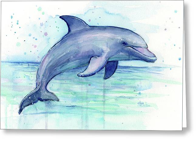 Watercolor Dolphin Painting - Facing Right Greeting Card by Olga Shvartsur