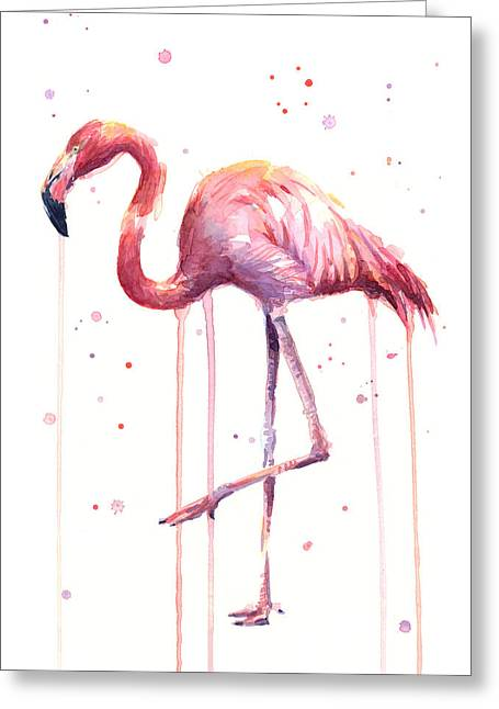 Watercolor Flamingo Greeting Card by Olga Shvartsur