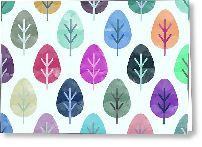 Watercolor Forest Pattern  Greeting Card by Amir Faysal