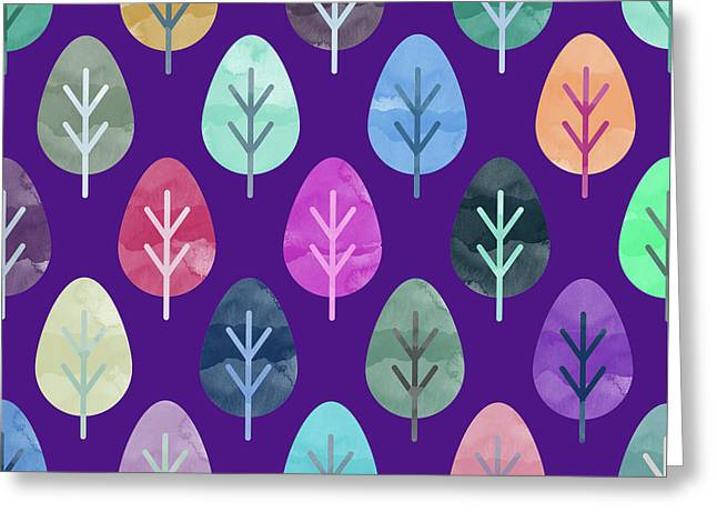 Watercolor Forest Pattern II Greeting Card by Amir Faysal