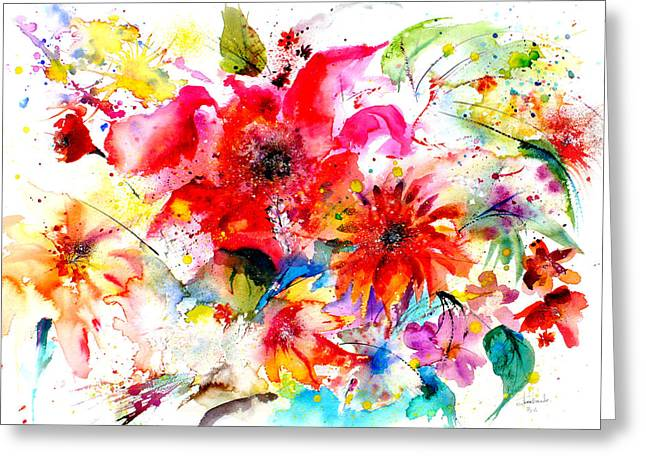 Pink Blossoms Drawings Greeting Cards - Watercolor Garden II Greeting Card by Isabel Salvador