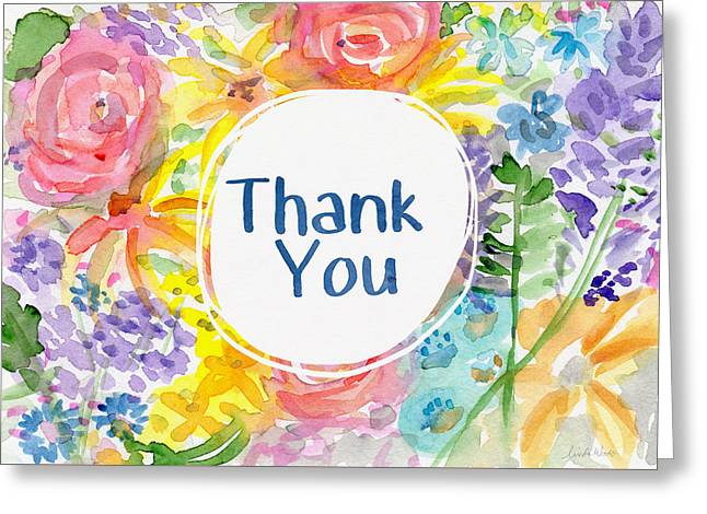 Watercolor Garden Thank You- Art By Linda Woods Greeting Card by Linda Woods